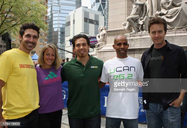Ethan Zohn runner Jen Rhines speed skater Apolo Ohno marathoner Meb Keflezighi and actor Ed Norton attend ING New York City Marathon opening day at...