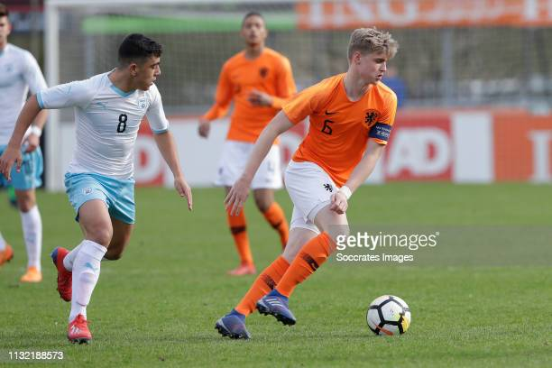 Ethane Azoulay of Israel U17 Kenneth Taylor of Holland U17 during the match between Holland U17 v Israel U17 at the Sportpark Zegersloot on March 23...