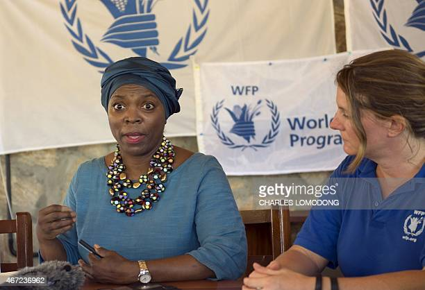 Etharin Cousin, Executive Director of the United Nations World Food Programme , addresses a press conference in Juba, the capital of South Sudan, on...