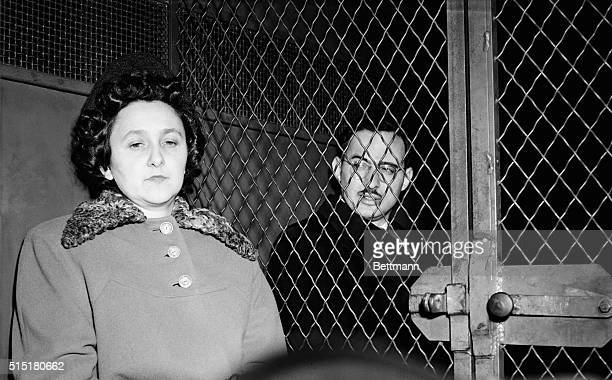 Ethel and Julius Rosenberg sitting in police van after being convicted of espionage