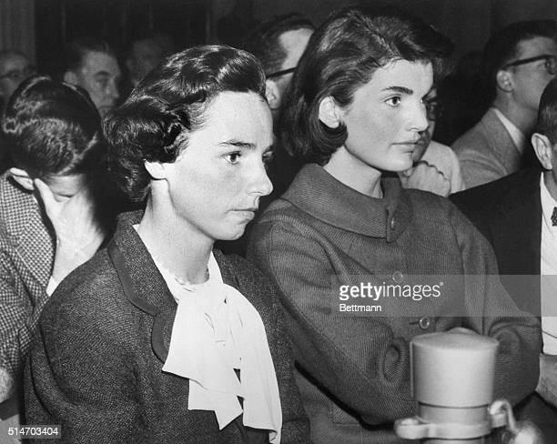 Ethel Kennedy and Jacqueline Kennedy attend a hearing of the Senate Labor Rackets Committee on March 5 1957 Ethel Kennedy is the wife of Robert...