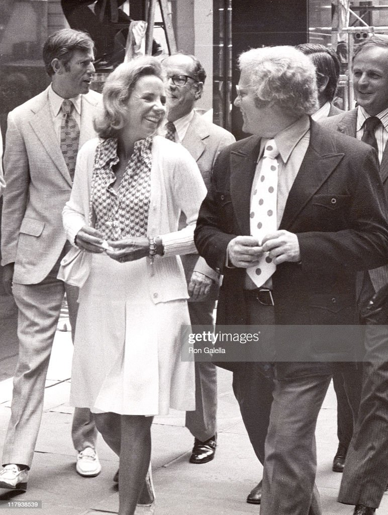 Ethel Kennedy and Roone Arledge during The 2nd annual RFK Pro-Celebrity Tennis Tournament Promotion at Seagram Plaza in New York City, New York, United States.