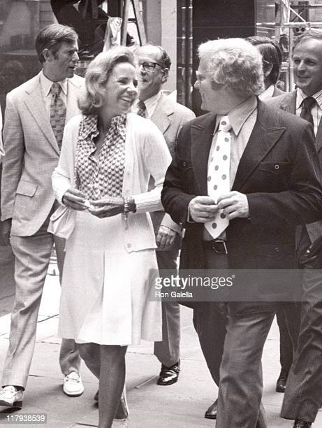 Ethel Kennedy and Roone Arledge during The 2nd annual RFK Pro-Celebrity Tennis Tournament Promotion at Seagram Plaza in New York City, New York,...