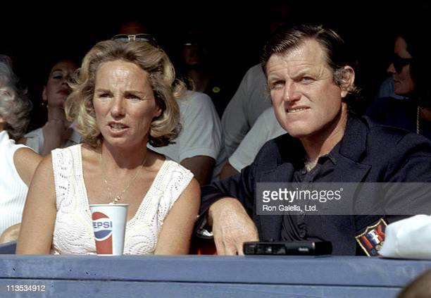 Ethel Kennedy and Ted Kennedy during 2nd Annual RFK Pro Celebrity Tennis Tournament at Forest Hills Stadium in Forest Hills, New York, United States.