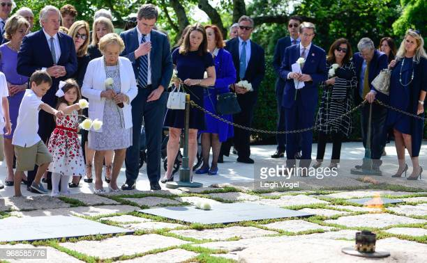 Ethel Kennedy human rights campaigner and widow of Robert F Kennedy places a flower the grave of President John F Kennedy during A Remembrance and...