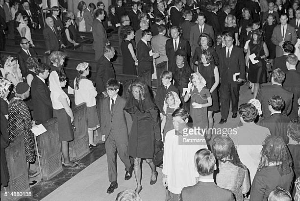 Ethel Kennedy leaves St Patrick's Cathedral with her family after the requiem mass for RFK Robert was assassinated while campaigning for president in...