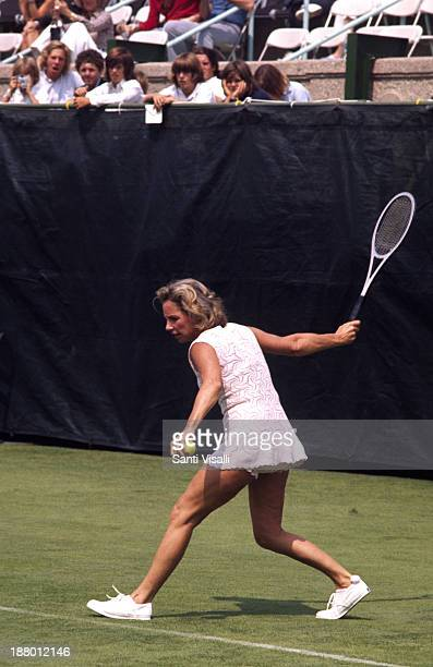 Ethel Kennedy playing tennis on August 15 1973 in New York New York