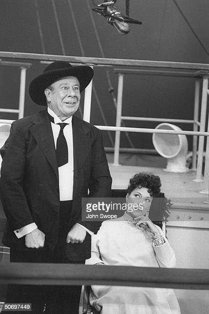 Ethel Merman w Bert Lahr in gangster costume performing in Cole Porter's musical Anything Goes on TV show The Colgate Comedy Hour