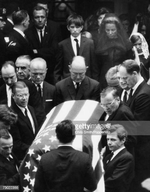 Ethel Skakel Kennedy wife of assassinated Senator Robert F Kennedy and one of her sons follow Kennedy's coffin at his funeral in Washington DC 8th...