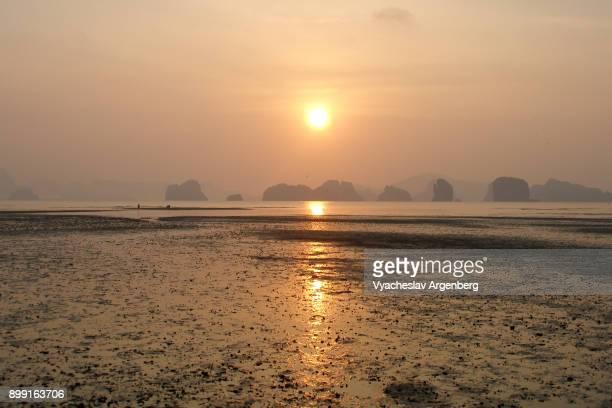 Ethereal sunrise with a view on Phang Nga bay islands, Koh Yao Noi, Thailand