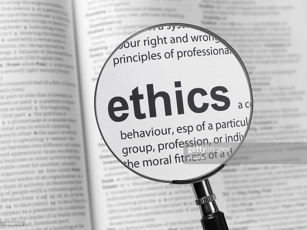 Ethics definition in a dictionary : Stock Photo