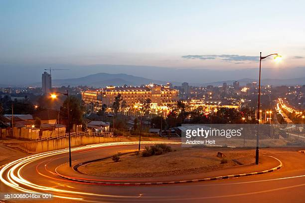 ethiopia, addis ababa, sheraton hotel at dusk (long exposure) - addis ababa stock pictures, royalty-free photos & images
