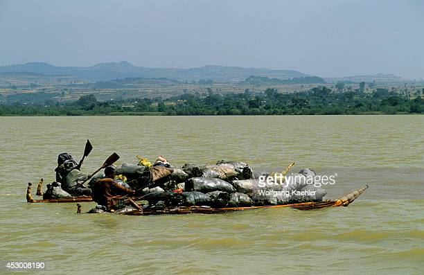 Ethiopia Bahar Dar Lake Tana People Transporting Charcoal On Papyrus Boats