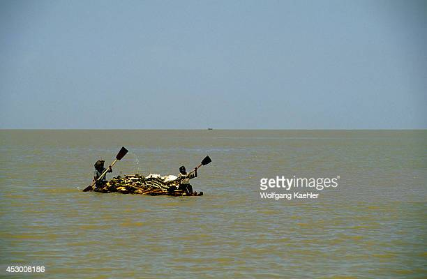 Ethiopia Bahar Dar Lake Tana People Transporting Firewood On Papyrus Boat