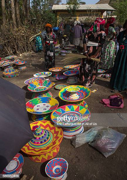 Ethiopia injera serving tables for sale in the market oromo sambate Ethiopia on February 21 2016 in Sambate Ethiopia