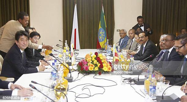 ABABA Ethiopia Japanese Prime Minister Shinzo Abe and Ethiopian Prime Minister Hailemariam Desalegn are pictured before their talks at the...