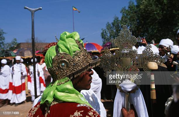 Ethiopia Lalibela Coptic festival of Epiphany Tabots are brought back to the Temples Priests bringing Cross