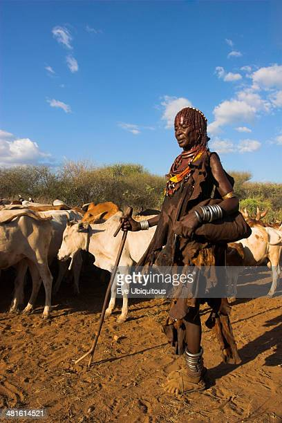 Ethiopia Lower Omo Valley Tumi Hama Jumping of the Bulls initiation ceremony Ritual dancing round cows and bulls before the initiate does the jumping
