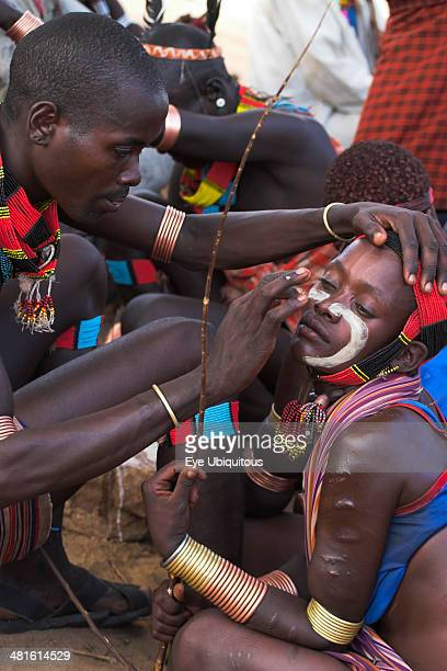 Ethiopia Lower Omo Valley Tumi Hama Jumping of the Bulls initiation ceremony Face painting with a mixture of clay oils and plant pigments