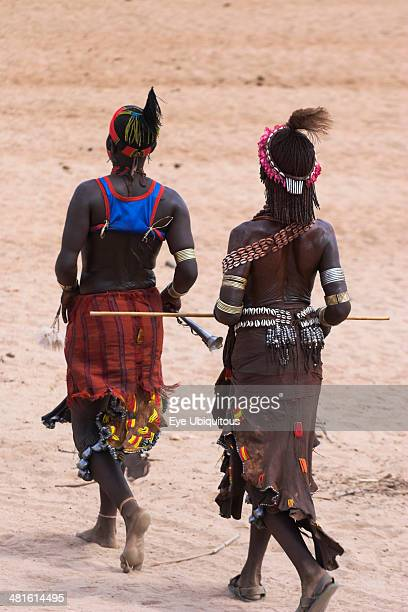Ethiopia Lower Omo Valley Turmi Hamer Jumping of the Bulls initiation ceremony Women sing and dance before the bull jumping