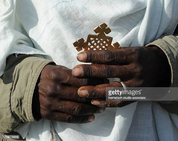 Ethiopia priest Lalibela,praying, street, religion, catholic,