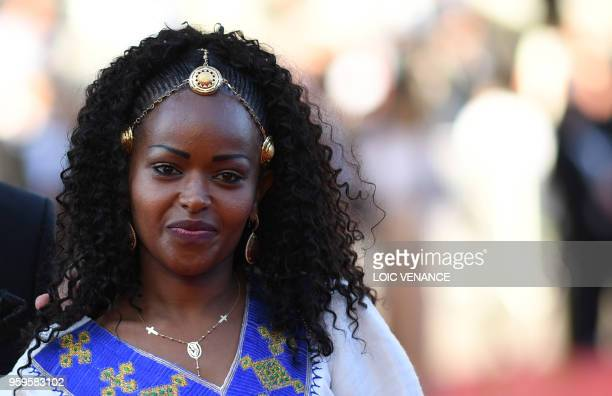 Ethiopian actress Yordanos Shiferaw arrives on May 17 2018 for the screening of the film Capharnaum at the 71st edition of the Cannes Film Festival...