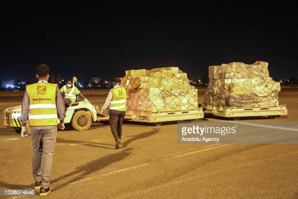 Ethiopian Airline plane load of protective and medical equipment donated by Chinese businessman Jack Ma, lands at Khartoum International Airport in...