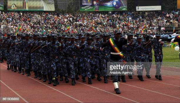 Ethiopian army take part in the military parade to celebrate the 10th Ethiopian National Flag Day in Addis Ababa Ethiopia on October 16 2017