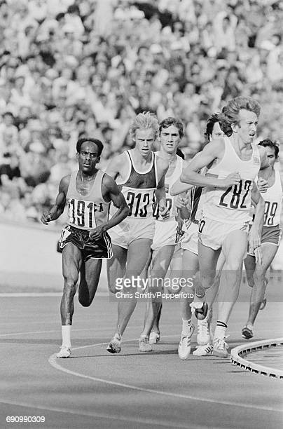 Ethiopian athlete Miruts Yifter pictured on far left during competition with Hansjorg Kunze of East Germany and Nick Rose of Great Britain in the...