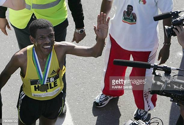 Ethiopian athletics legend Haile Gebrselassie waves to his fans after winning the Dubai Marathon 2008 the world's richest marathon in Dubai 18...