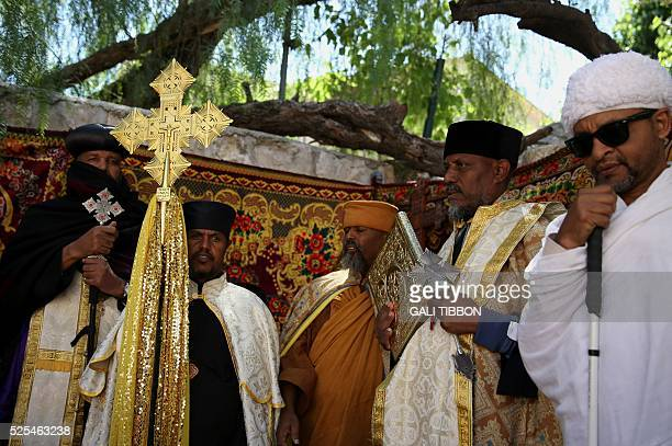 Ethiopian Christian Orthodox priests pray during the Washing of the Feet ceremony one of the Orthodox Easter celebrations at the Deir alSultan chapel...