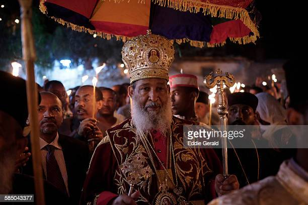 Ethiopian Christian worshippers celebrating Demera which is a ceremony of the Meskel finding of the true cross observed by torching a big bonfire at...