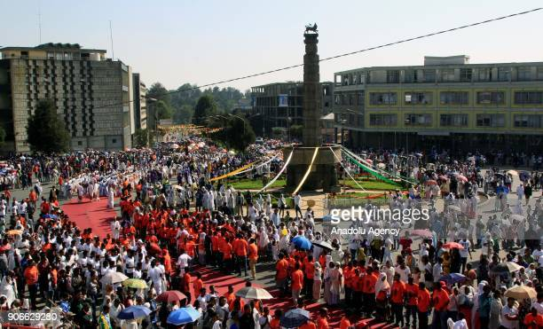 Ethiopian Christians gather for Epiphany celebrations marking the anniversary of Jesus Christ's baptism at Meyazia 27 Square in Addis Ababa Ethiopia...
