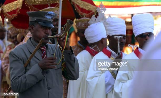 Ethiopian Christians gather to celebrate Epiphany at Bole Airport Square in Addis Ababa Ethiopia on January 18 2019