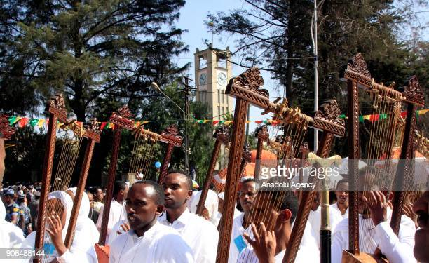 Ethiopian Christians hymn during Epiphany celebrations marking the anniversary of Jesus Christ's baptism at Holy Trinity Cathedral in Addis Ababa...