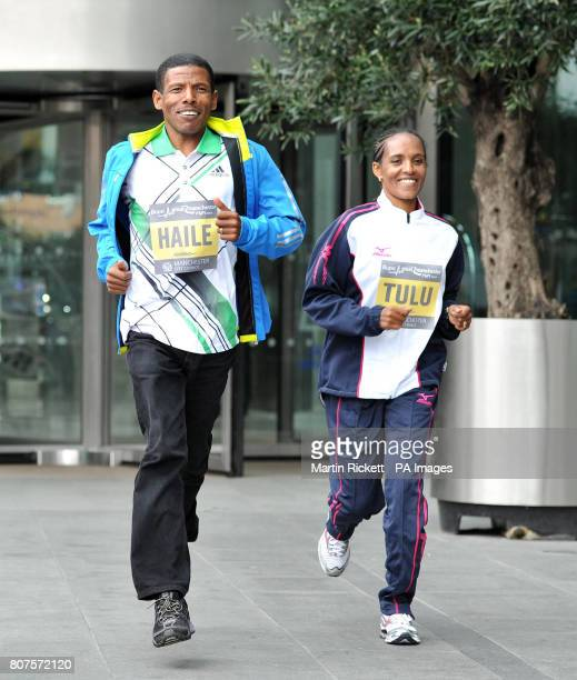 Ethiopian distance runners Haile Gebrselassie and Derartu Tulu following the press conference at the Hilton Hotel Manchester