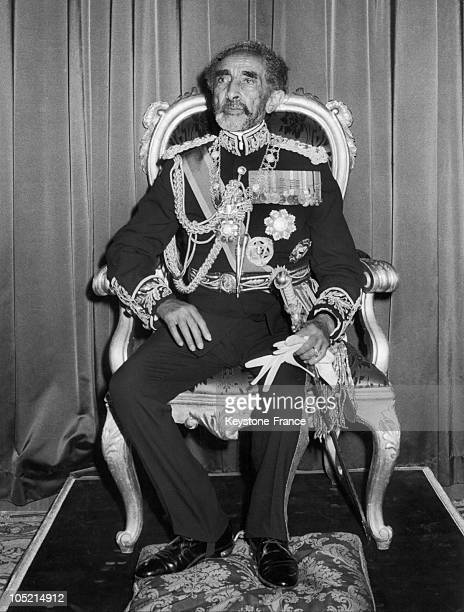 Ethiopian Emperor Haile Selassie 1St On His Throne Around 1970