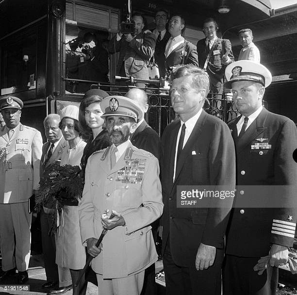 Ethiopian Emperor Haile Sellassie I and his granddaughter Princess Ruth Desta are welcomed by US President John F Kennedy and his wife Jackie 1st...