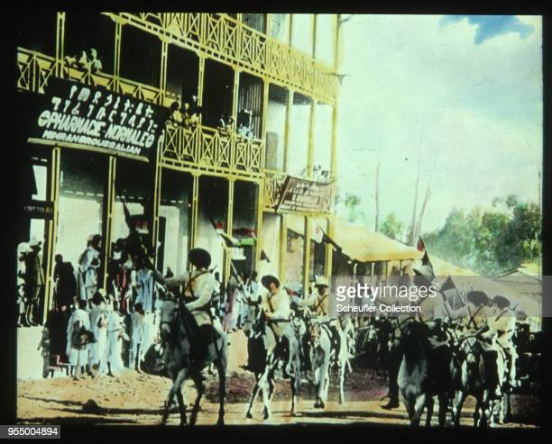 Ethiopian emperor's guard The guard of Ethiopian emperor Haile Selassie rides through Addis Ababa on horseback carrying flags 1920s 1920s Addis Ababa...