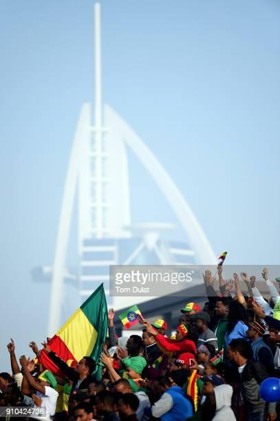 Ethiopian fans support their runners during the Standard Chartered Dubai Marathon on January 26 2018 in Dubai United Arab Emirates