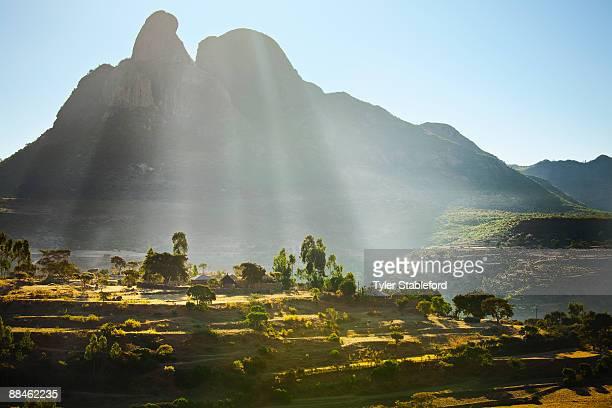 Ethiopian farm at sunrise.