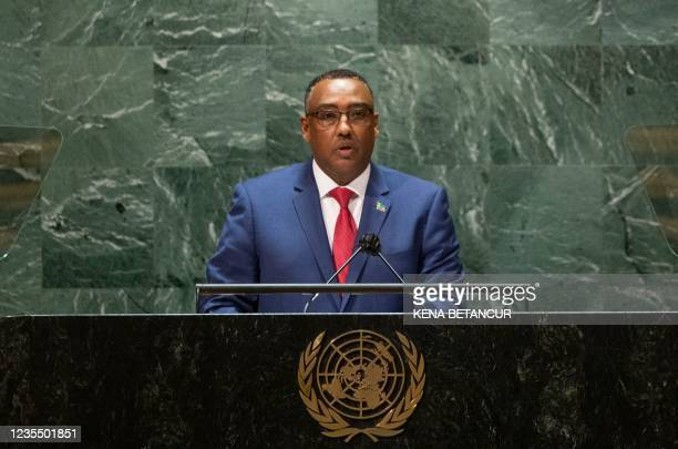 Ethiopian Foreign Minister Mekonnen Hassen addresses the 76th session of the United Nations General Assembly at UN headquarters on September 25, 2021...