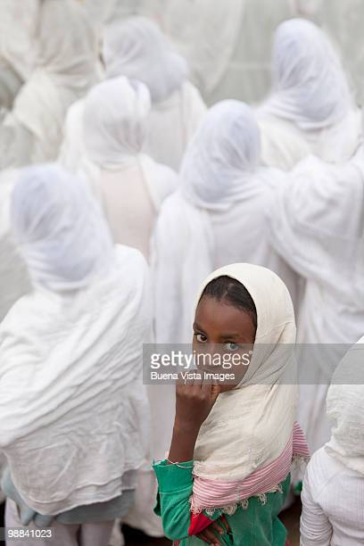 ethiopian girl during timkat ceremony - ethiopia stock pictures, royalty-free photos & images