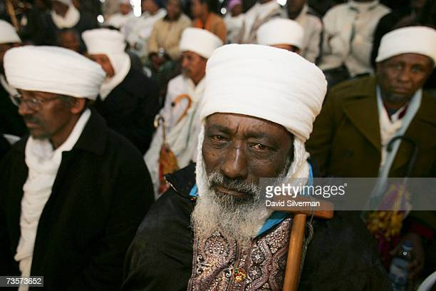 Ethiopian Jewish Kessim or religious leaders take part in a memorial ceremony for Ethiopians who were lost on their way to Israel on March 14 2007 at...