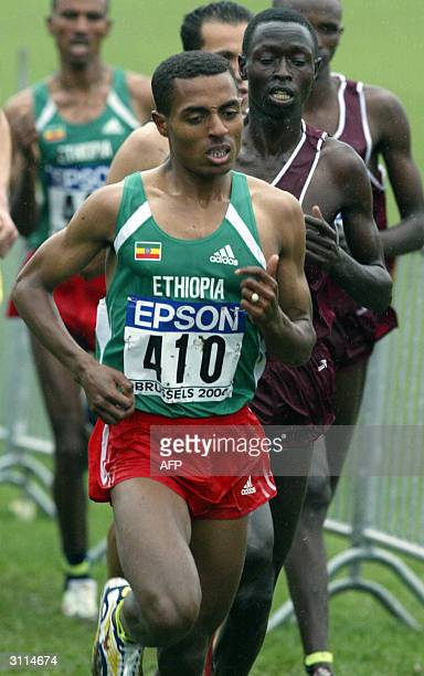 Ethiopian Kenenisa Bekele keeps the lead in the men's cross country short race at the 32nd IAAF World Cross Country Championships in Brussels 20...