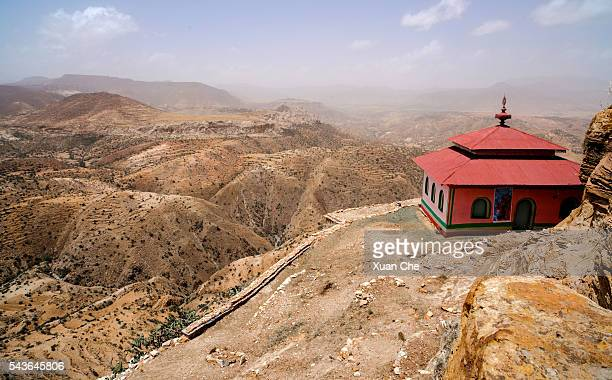 ethiopian landscape and monastery: - ethiopian orthodox church stock pictures, royalty-free photos & images