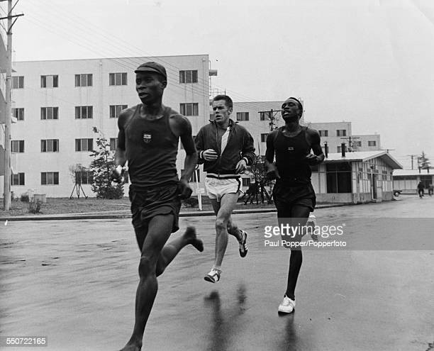 Ethiopian marathon runner Abebe Bikila running barefoot during training in the Olympic Village at the Olympic Games in Tokyo, October 9th 1964.