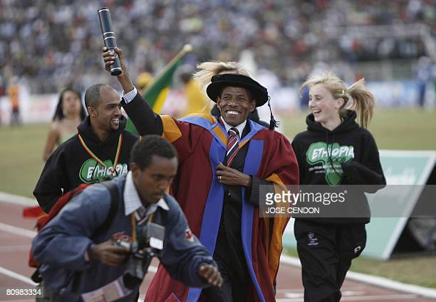 Ethiopian marathon world record holder Haile Gebrselassie receives a honorary degree from Leeds Metropolitan University for his outstanding...