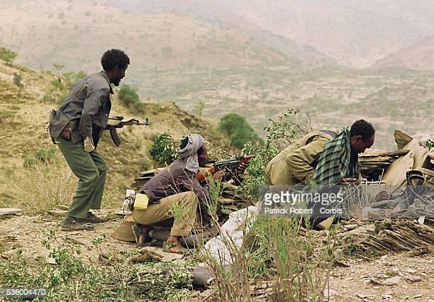 Ethiopian militia on the Zalambasa front, opposite the Eritrean army.