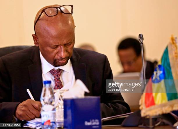 Ethiopian Minister of Water, Irrigation and electricity Seleshi Bekele participates in a meeting with his Egyptian and Sudanese counterparts in the...